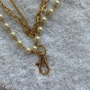 Classically Chic Boutique Jewelry - Layer Gold Pearl Key Card Holder Lanyard Necklace